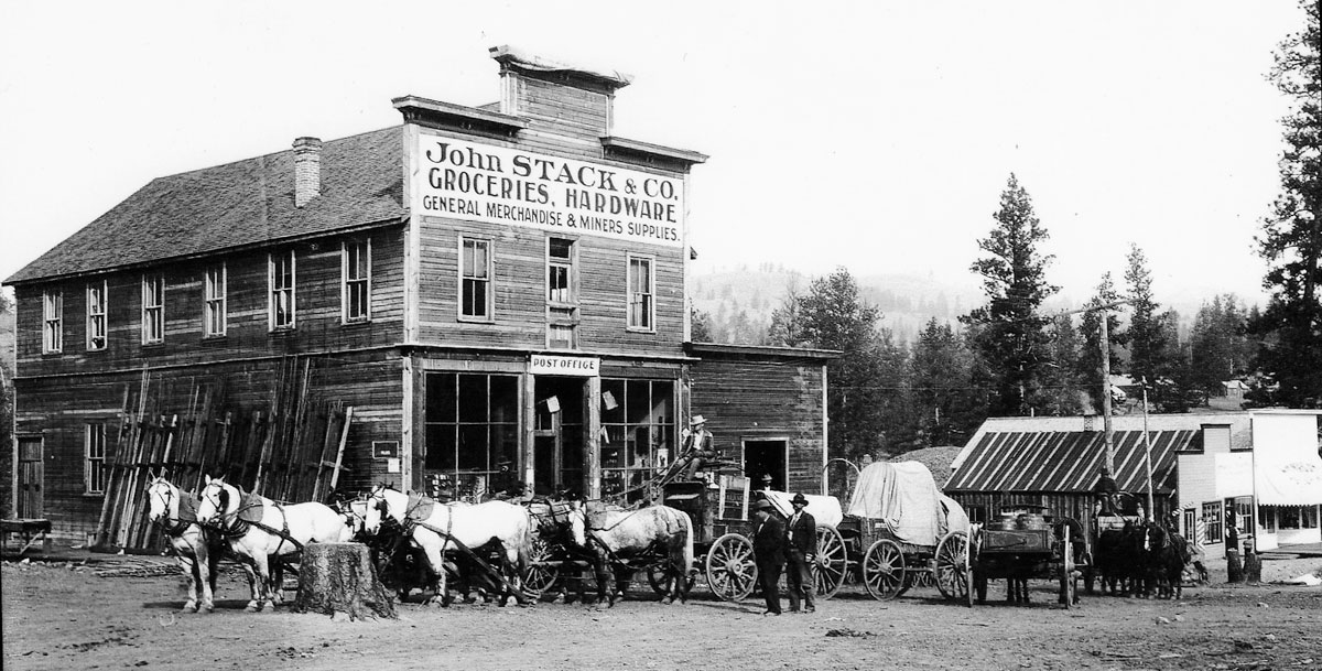 John Stack Store with Freight Wagons, 1898