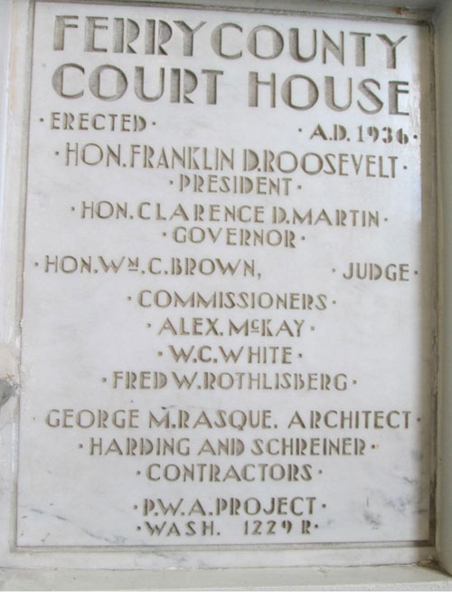 Plaque in the Ferry County COurthouse